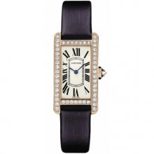 Cartier Tank Americaine diamond small watch for women WB707931 pink gold black satin strap
