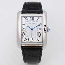 Cartier Tank Anglaise extra large watch for men W5310033 18K white gold black leather strap