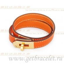 Hermes Rivale Double Wrap Bracelet Orange With Gold
