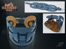 Hermes Fetiche Leather Bracelet Blue