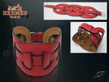Hermes Fetiche Leather Bracelet Red