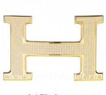 Hermes Reversible Belt 18k Gold Plated H Buckle with Full Diamonds