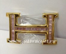 Hermes Reversible Belt 18k Gold With Pink Diamonds H Buckle