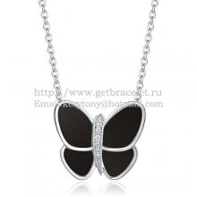 Van Cleef & Arpels Flying Butterfly Pendant Necklace White Gold With Black Onyx Diamonds