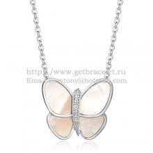 Van Cleef & Arpels Flying Butterfly Pendant Necklace White Gold With White Mother Of Pearl Diamonds