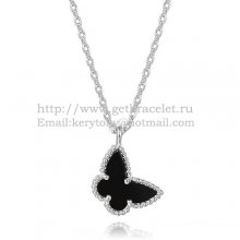 Van Cleef Arpels Lucky Alhambra Butterfly Necklace White Gold With Black Onyx Mother Of Pearl