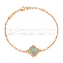 Van Cleef & Arpels Sweet Alhambra Bracelet Pink Gold With Gray Mother Of Pearl