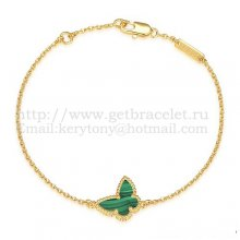 Van Cleef & Arpels Sweet Alhambra Butterfly Bracelet Yellow Gold With Malachite Mother Of Pearl