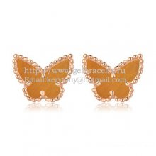 Van Cleef & Arpels Sweet Alhambra Butterfly Earrings Pink Gold With Tiger's Eye Mother Of Pearl