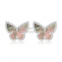 Van Cleef & Arpels Sweet Alhambra Butterfly Earrings White Gold With Gray Mother Of Pearl