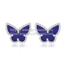 Van Cleef & Arpels Sweet Alhambra Butterfly Earrings White Gold With Lapis Stone Mother Of Pearl