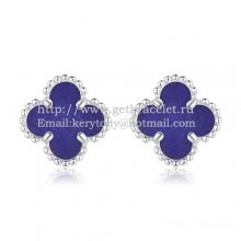 Van Cleef & Arpels Sweet Alhambra Earrings 9mm White Gold With Lapis Stone Mother Of Pearl