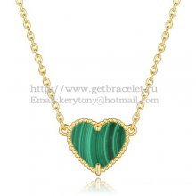 Van Cleef Arpels Sweet Alhambra Heart Pendant Yellow Gold With Malachite Mother Of Pearl