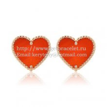 Van Cleef & Arpels Sweet Alhambra Heart Earrings Pink Gold With Carnelian Mother Of Pearl