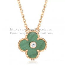 Van Cleef & Arpels Vintage Alhambra Pendant Pink Gold With Malachite Mother Of Pearl Round Diamonds