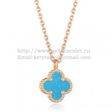 Van Cleef & Arpels Sweet Alhambra Pendant Pink Gold With Turquoise Mother Of Pearl 9mm