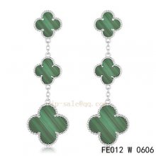 Cheap Van Cleef & Arpels Malachite White Gold Earrings