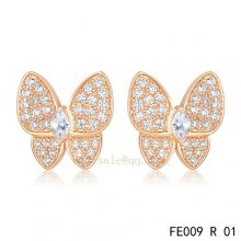 Cheap Van Cleef & Arpels Butterflies Pink Gold Earrings With Diamonds