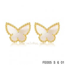 Imitation Van Cleef & Arpels Butterflies White Mother Of Pearl Yellow Gold Earrings