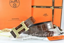 Hermes Reversible Belt Brown/Black Crocodile Stripe Leather With18K Drawbench Gold H Buckle