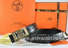 Hermes Reversible Belt Black/Black Crocodile Stripe Leather With18K Gold Big H Buckle