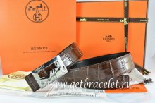 Hermes Reversible Belt Brown/Black Crocodile Stripe Leather With18K Silver Coach Buckle