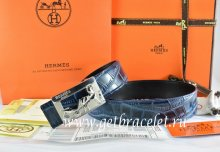 Hermes Reversible Belt Blue/Black Crocodile Stripe Leather With18K Silver Coach Buckle
