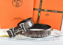 Hermes Reversible Belt Brown/Black Crocodile Stripe Leather With18K Black Silver With Logo H Buckle