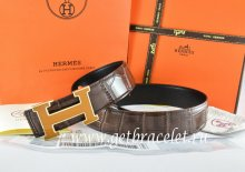 Hermes Reversible Belt Brown/Black Crocodile Stripe Leather With18K Yellow Gold H Buckle