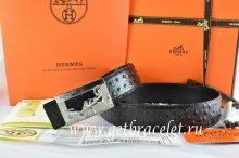 Hermes Reversible Belt Black/Black Ostrich Stripe Leather With 18K Silver Coach Buckle