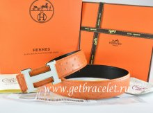 Hermes Reversible Belt Orange/Black Ostrich Stripe Leather With 18K White Silver H Buckle