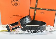 Hermes Reversible Belt Black/Black Ostrich Stripe Leather With 18K Brown Silver Narrow H Buckle