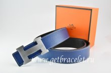 Hermes Reversible Belt Dark Blue/Black Togo Calfskin With 18k Silver H Buckle