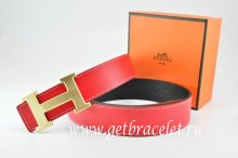 Hermes Reversible Belt Red/Black Togo Calfskin With 18k Drawbench Gold H Buckle