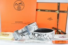 Hermes Reversible Belt White/Black Snake Stripe Leather With 18K Silver Plates Strip H Buckle