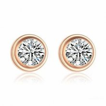 Cartier Diamants Legers DE Earrings in 18K Pink Gold With 1 White Diamond