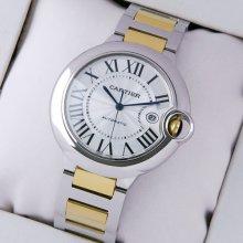 Ballon Bleu de Cartier W69009Z3 large watch replica two-tone 18K yellow gold and steel