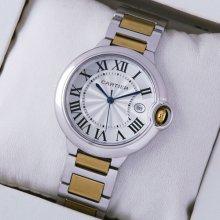 Ballon Bleu de Cartier medium date quartz watch two-tone 18kt yellow gold and steel