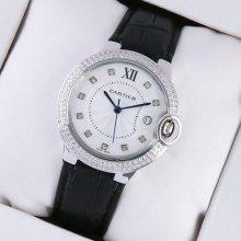 Ballon Bleu de Cartier medium steel watch with two rows diamonds black leather strap