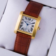 Cartier Tank Francaise mens watch replica 18K yellow gold brown leather strap