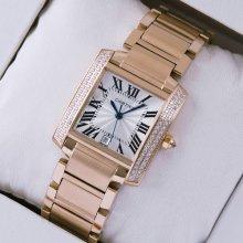 Cartier Tank Francaise diamond swiss mens watch replica 18K pink gold