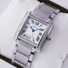 Cartier Tank Francaise replica steel mens watch with single row of diamonds