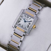 Cartier Tank Francaise diamond watch for women two-tone yellow gold and steel