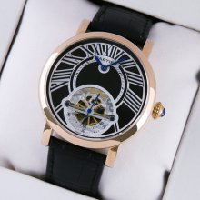 Rotonde de Cartier tourbillon mens watch replica 18K pink gold black leather strap