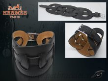Hermes Fetiche Leather Bracelet Black