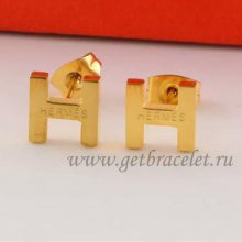 Hermes H Earrings in Yellow Gold