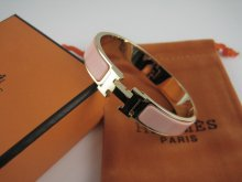 Hermes Pink Enamel Clic H Bracelet Narrow Width (12mm) In Gold