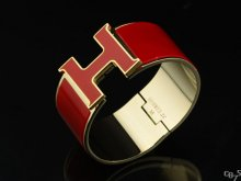 Hermes Red Enamel Clic H Bracelet Narrow Width (33mm) In Gold