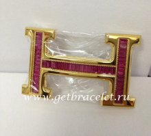 Hermes Reversible Belt 18k Gold With Red Diamonds H Buckle
