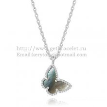 Van Cleef Arpels Lucky Alhambra Butterfly Necklace White Gold With Gray Mother Of Pearl